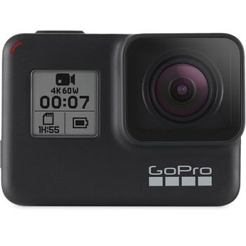 Action Camera GoPro HERO7 Black, Photo-Video Resolutions: 12MP/30FPS-4K60, 8x slow-motion, waterproof 10m, voice control, 3x microphones, hyper smooth video, touch screen, HDR, GPS, live streaming, Wi-Fi, Bluetooth, HDMI, USB-C, Battery 1220mAh, 116g