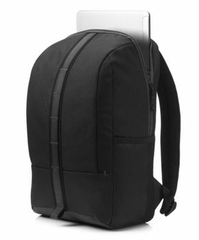 HP Commuter Backpack (Black), sporty zip-up backpack, Padded, air-mesh shoulder straps, A water-resistant coating on the bottom, Reflective accents for safety.