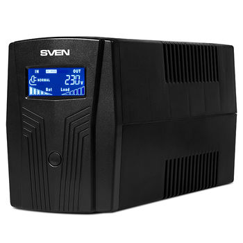 SVEN Pro 650 (LCD,USB), Line-interactive UPS with AVR, 650VA /390W, Multifunction LCD display, 2x Schuko outlets, 1x7AH, AVR: 170-280V, USB, RJ-11, Cold start function, Black