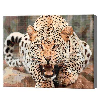 Алмазная мозаика 40х50 см Леопард в боевой готовности