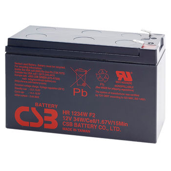 CSB Battery 12V 9AH, HR 1234W F2, 3-5 Years Life Time