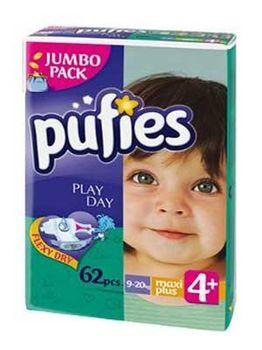 PUFIES подгузники Jumbo 4+ (9-20 kg) (62 шт.)