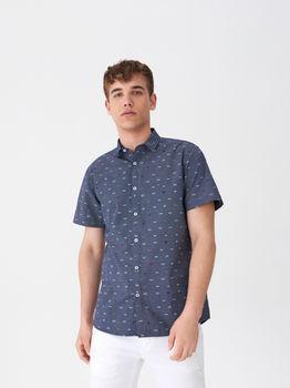 Рубашка HOUSE Темно синий с принтом