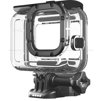 GoPro Protective Housing (HERO8 Black) - is rugged and waterproof right out of the box, but this housing handles anything you can throw at it. It protects from dirt and flying debris, and it's waterproof down to 60m for deep-water diving.