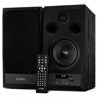 SVEN MC-20 Black,  2.0 / 2x45W RMS, Bluetooth v. 2.1 +EDR, Digital LED display, FM-tuner, USB flash, SD card, remote control, Headphone input, glossy black front panels, wooden.