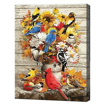 Букет и птички, 40х50 см, картина по номерам Артукул: GX34124