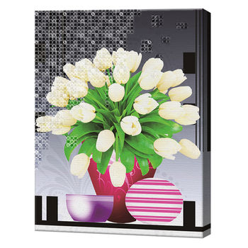 Алмазная мозаика + роспись по номерам 40х50 см Графический букет белых тюльпанов YHDGJ72051
