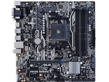 ASUS PRIME B350M-K, Socket AM4, AMD B350, Dual 2xDDR4-3200, APU AMD graphics, DVI, 1xPCIe X16, 4xSATA3(6Gb/s), RAID, 1x M.2 slot, 2xPCIe X1, ALC887 7.1ch HDA, GigaBit LAN, 6xUSB3.1, 5X Pro.III, mATX