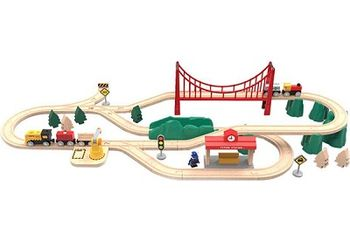 "XIAOMI ""MITU Mi Toy Train Set"" Electric Train Set, 63 classic parts, Battery 1xAA,18L Box - 422 x 303 x 238mm,  Imported beech wood paint, safety protection materials, Scene game mode, Promote intellectual development, Magnetic stitching, 3.5 kg"