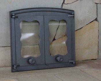 Дверца чугунная со стеклом двустворчатая BATUMI III