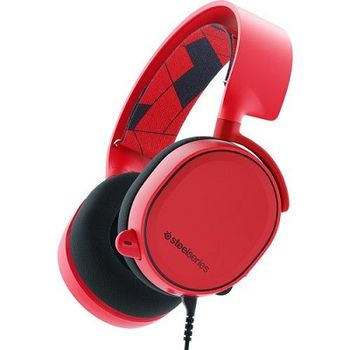 STEELSERIES Arctis 3 / Gaming Headset with retractable Best Mic in Gaming, ClearCast,  7.1 Surround Sound, 40mm neodymium drivers, Compatibility (PC/Mac/PS/Xbox/VR/Mobile), Cable lenght 3.0m, 3.5mm jack, Solar Red