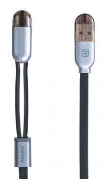 Cablu Remax Binary Lightning+Micro cable Black