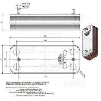 купить Пластинчатый теплообменник Zilmet ZB 190 (INOX AISI 316L) 16 пластин Bereta ,Rielo в Кишинёве