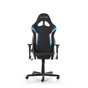 "Gaming/Office Chair DXRacer Racing GC-R288-NBW-Z1, Black/Blue/White, Premium PU leather + perforated PVC, max weight up to 150kg / height 165-195cm, Recline 90°-135°, 3D Armrests, Head and Lumber cushions, Aluminium wheelbase, 2"" PU Caster, W-22.65kg"