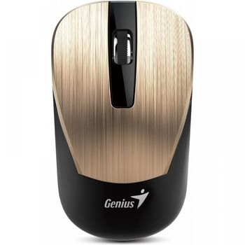 Mouse Genius NX-7015 Gold, Metallic style, Wireless 2.4GHz Optical Mouse, Nano receiver, 800/1200/1600 dpi, Extends battery life up to 18 months, Battery Low Indicator, Rubber hand grip, Slot receiver, USB, Gold