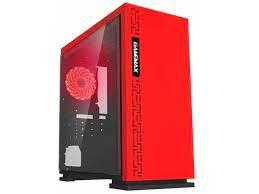 Кейс MATX GAMEMAX Centauri, без блока питания, 1x120мм, красный светодиод, USB3.0, боковое окно, черный / красный