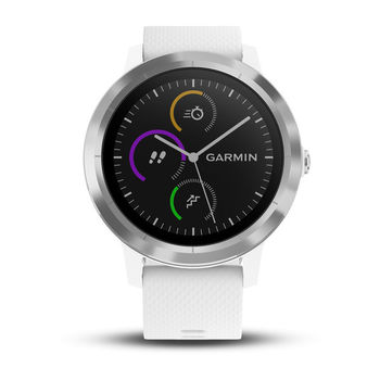 GARMIN Vivoactive 3 White Silicone Stainless, Activity Tracker, Timer, Stopwatch, Smart notificatiions, Step counter, Move bar, Sleep monitoring, Calories burned, Floors climbed, Heart Rate, Pool Swimming, GPS