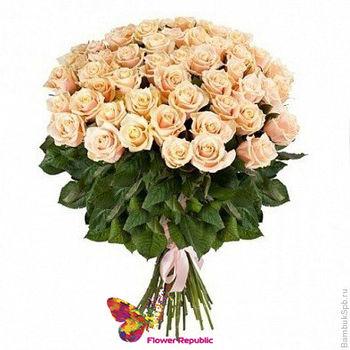 cumpără Buchet  de 25 Trandafiri Crem Ecuador 50CM în Chișinău