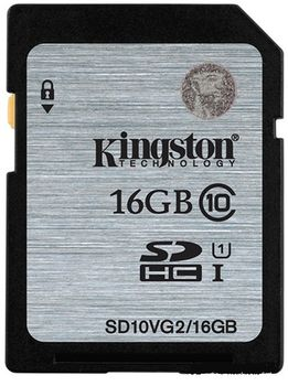 Kingston 16GB SDHC Card Class 10 UHS-I, 300x, Up to:45MB/s