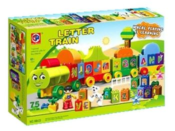 Поезд с буквами обучающий, 75 деталей