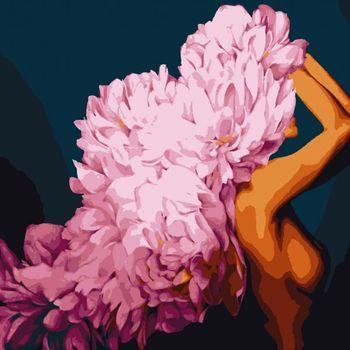 "PN1777 Картина по номерам Artissimo ""Цветущая красавица"", 4 *, 16 цветов, 50x60 см."