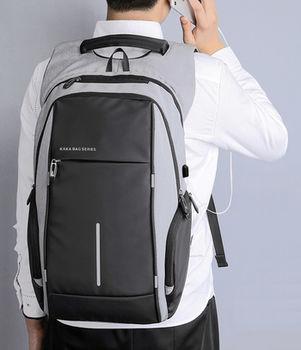 cumpără Rucsac Kaka 2215, compartiment pentru laptop de 15.6',  USB port, impermiabil, gri în Chișinău