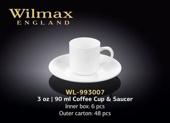 Чашка WILMAX WL-993007/6C (с блюдцем 90 мл/набор 6 шт)