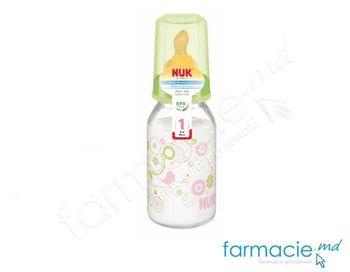 купить Стеклянная бутылочка NUK 125 мл, с ортодонтической антиколиковой соской NUK из латекса 0-6 месяцев в Кишинёве