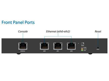 Ubiquiti EdgeRouter ERLite-3, Dual-Core 500 MHz MIPS64, 512MB DDR2 RAM, 3 Gbps, 100000 pps, 3 x 10/100/1000 Mbps Ethernet ports, 1 RJ-45 serial console port, OSPF, IPv6, Firewall, NAT, VPN, DHCP, VLAN (router wireless WiFi/беспроводной WiFi роутер)
