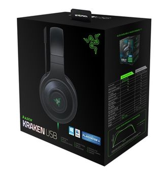 RAZER Kraken USB / Essential Gaming Headset, Rotatable Microphone, Advanced 7.1 virtual surround sound engine, 32mm neodymium driver units, USB, Black