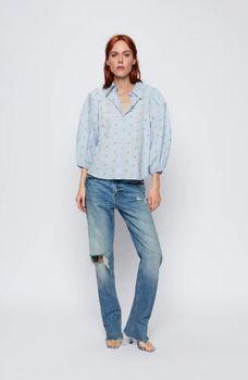 Блуза ZARA Синий в цветочек 7638/016/400