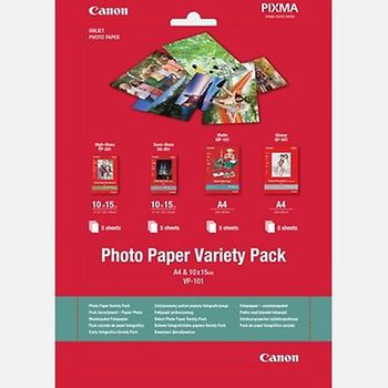 "Paper Canon Variety Pack VP-101, 4""x6"" (10x15cm), Set: GP-501-1pcs (10x15cm of 10 sheets) & PP-201-1pcs (10x15cm of 5 sheets) & SG-201-1pcs (10x15cm of 5 sheets)"