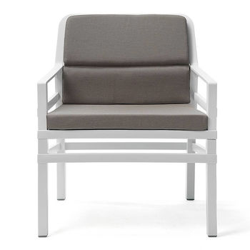 Кресло с подушками Nardi ARIA FIT BIANCO grigio Sunbrella 40330.00.136.FIT (Кресло с подушками для сада и терас)