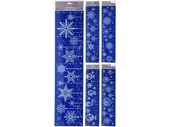 Набор новогодних наклеек 64X15cm, голубой, 4 дизайна