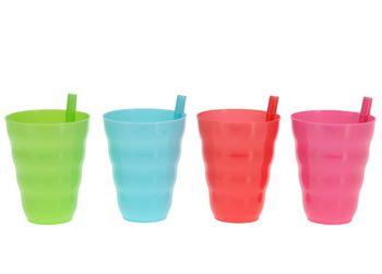 Набор стаканов с трубочкой 4шт, разных цветов, пластик