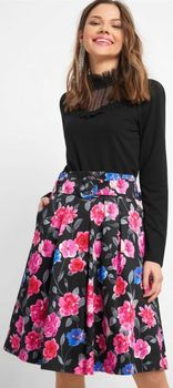 Юбка ORSAY Черный в цветочек 722239
