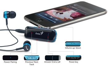 Genius HS-905BT Bluetooth stereo headset for music and calls, volume control,  Stereo mini jack; Music Playing Time: up to 6 hours; Answering/ending calls, Play/Pause, Volume up/down, Next/Prev. track; 3 sizes ear pieces, Black/Blue (31710166100)