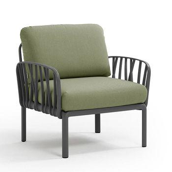 Кресло с подушками для сада и терас Nardi KOMODO POLTRONA ANTRACITE-giungla Sunbrella 40371.02.140