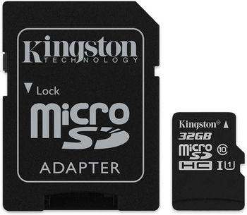 Kingston 32GB microSDHC Canvas Select Class10 UHS-I with SD adapter, 400x, Up to: 80MB/s
