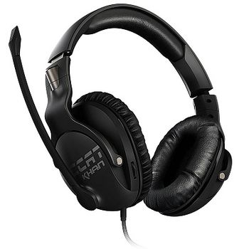 ROCCAT Khan Pro / Competitive High Resolution Gaming Headset, Noise-cancelling Microphone (rotatable), On-headset Remote, 50mm neodymium speaker units, Supreme comfort (high-comfort, low-weight design), 3.5mm jack, Black