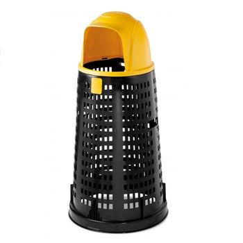 купить Мусорный контейнер Bobby 100 л, черный  с крышкой желтой в Кишинёве