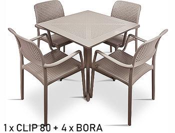 Set mobila de terasa masa Nardi CLIP 80 + 4 fotolii BORA