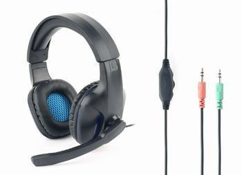 Gembird GHS-04, Gaming headset with Microphone, 3.5 mm plug x 2 pcs, Black