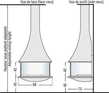 Камин - JC BORDELET ZELIA 908 - пристенный со стеклом