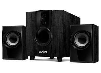 "SVEN MS-107 Black,  2.1 / 5W + 2x2.5W RMS, master volume control and bass, all wooden, (sub.4"" + satl.3"")"