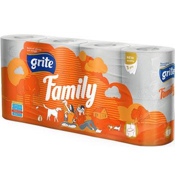 GRITE - Туалетная бумага FAMILY 3 слоя 8 рулона 18,75м