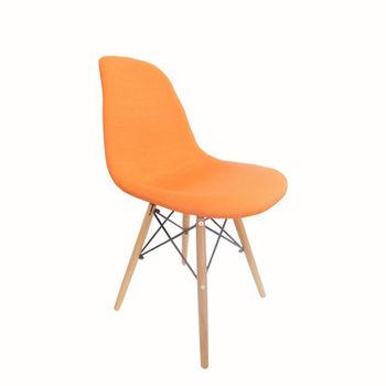 cumpără Scaun din plastic cu picioare din lemn, orange în Chișinău