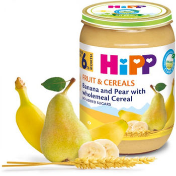 купить Hipp пюре банан, груша и зерновые хлопья, 6+мес. 190г в Кишинёве
