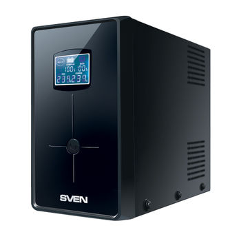 SVEN Pro+ 1500 (LCD,USB), Line-interactive UPS with AVR, 1500VA /900W, Multifunction LCD display, 2x Schuko outlets, 2x7AH, AVR: 165-275V, USB, RJ-11, Cold start function, Black