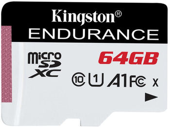 64GB microSD Class10 A1 UHS-I FC + SD adapter  Kingston High Endurance, 600x, Up to: 95MB/s, High performance, Seamless recording